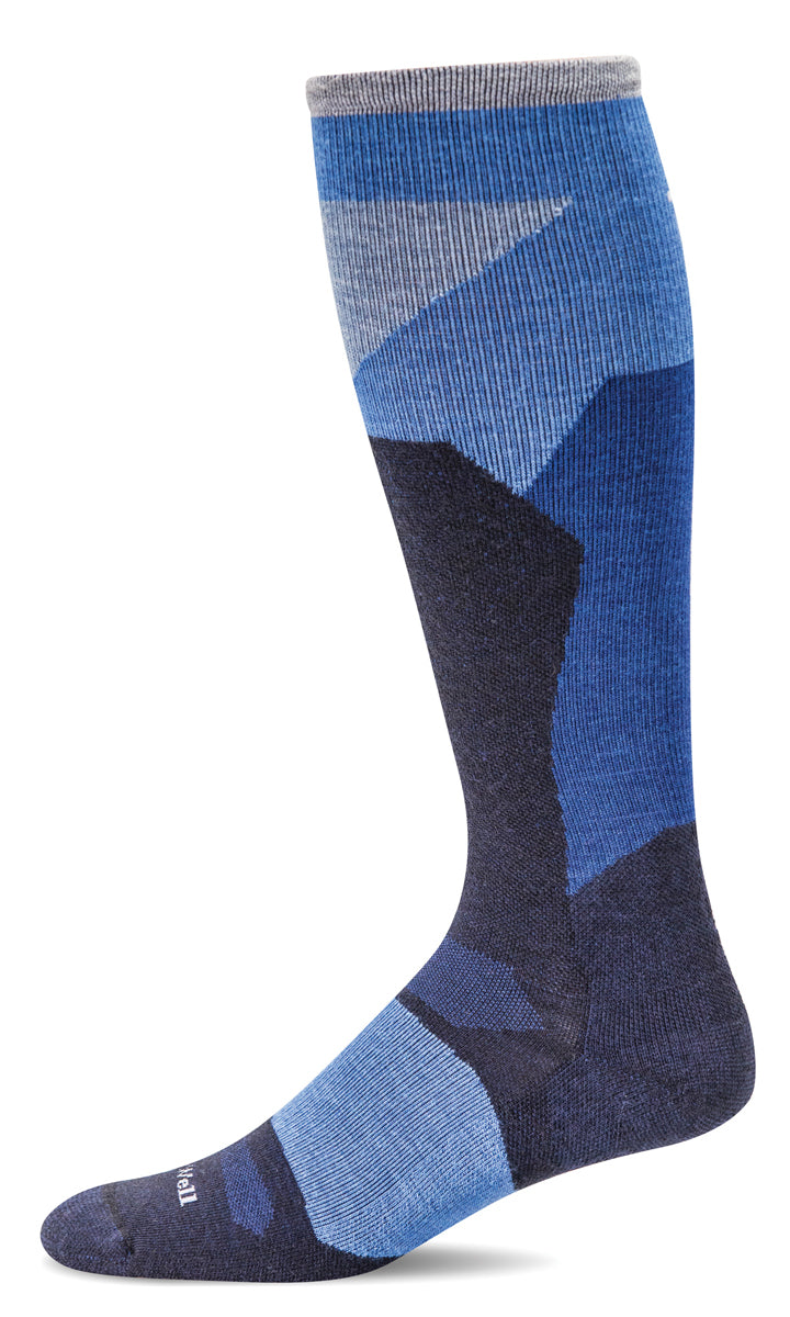 Men's Sockwell Ski Medium Compression Sock in Navy from the front view