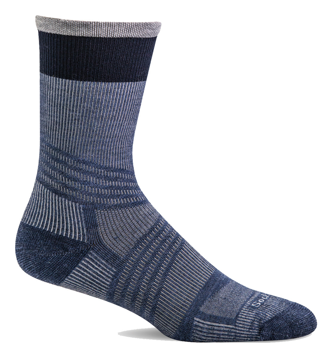 Men's Sockwell Summit Crew II Firm Graduated Compression Sock in Denim from the front view