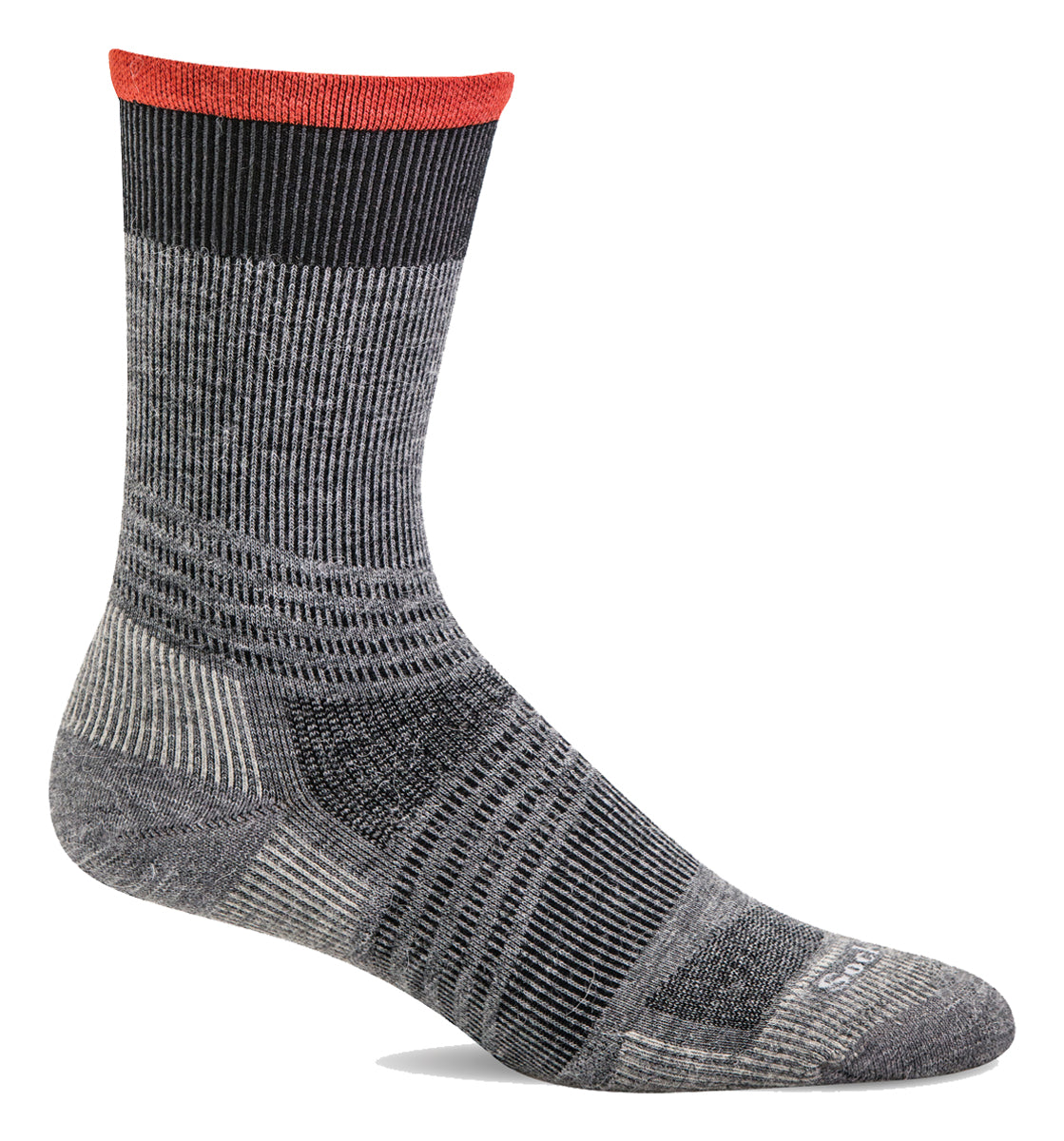 Men's Sockwell Summit Crew II Firm Graduated Compression Sock in Grey from the front view