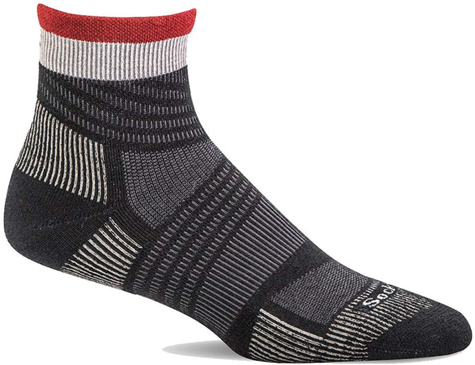 Sockwell Men's Summit Quarter II Firm Compression Sock in Black from the side