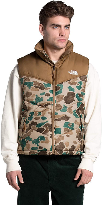 Men's The North Face Saikuru Vest in Hawthorne Khaki Distressed Duck Camo Print/Utility Brown