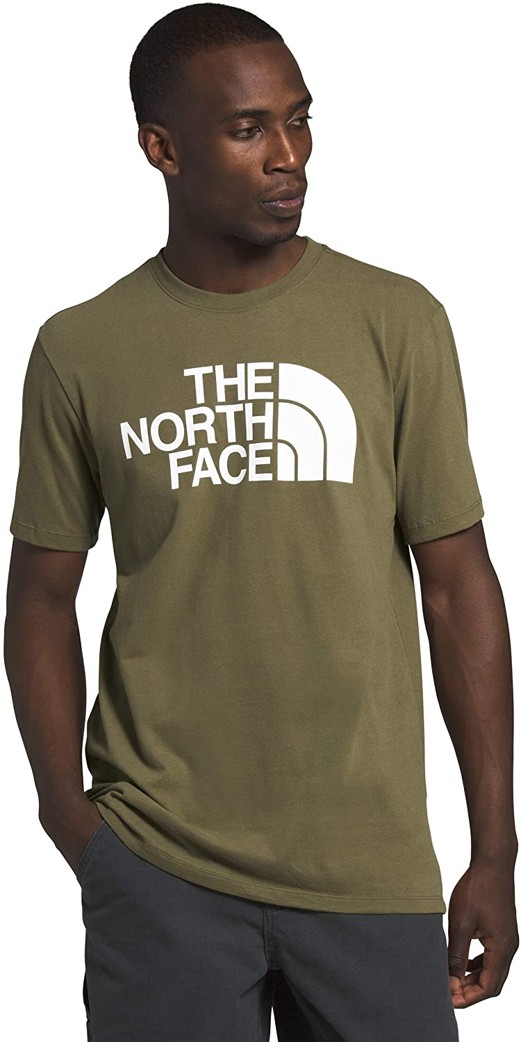 Men's The North Face Short-Sleeve Half Dome Tee in Burnt Olive Green from the front