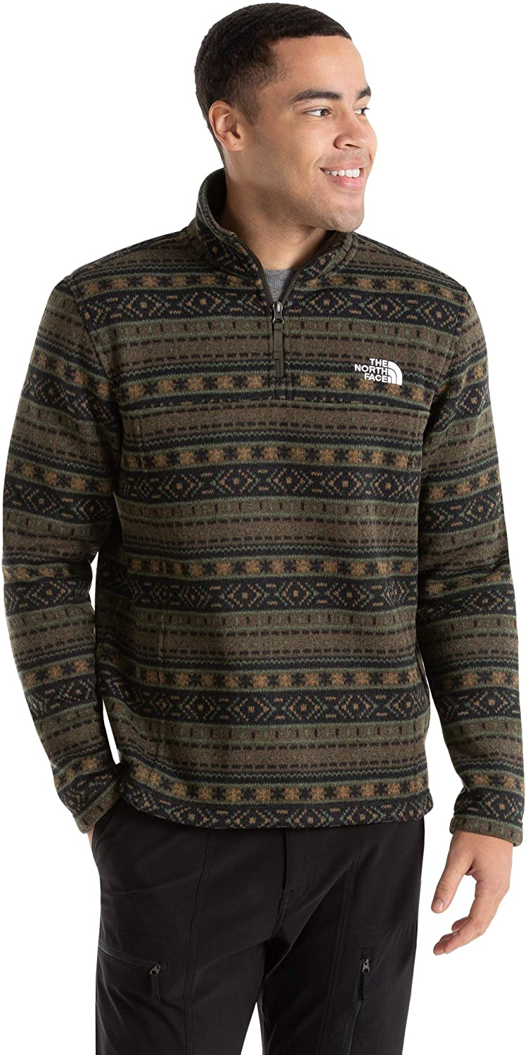 Men's The North Face Tsillan Quarter Zip Sweatshirt in New Taupe Green 1D Fair Isle Print from the front