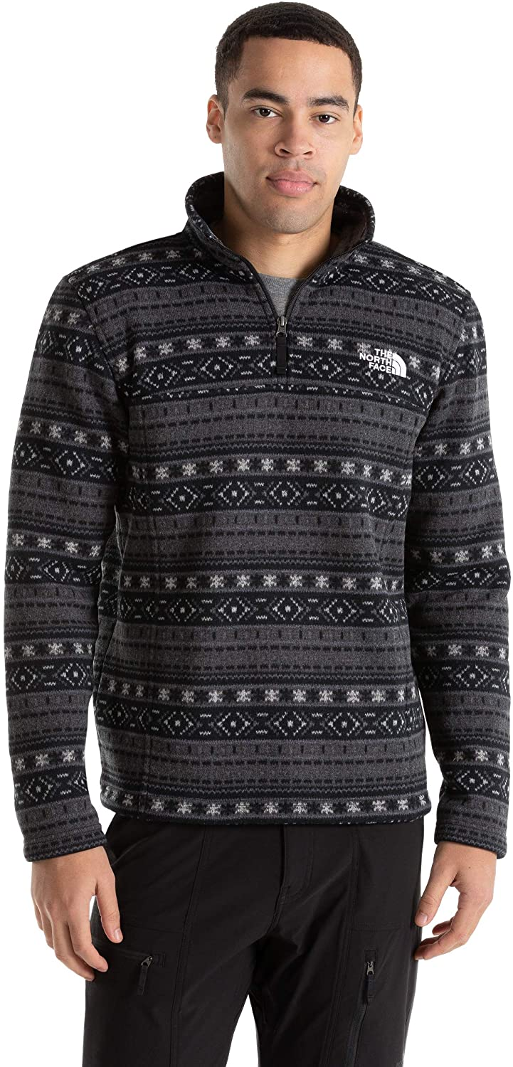 Men's The North Face Tsillan Quarter Zip Sweatshirt in TNF Black Fair Isle Print from the front