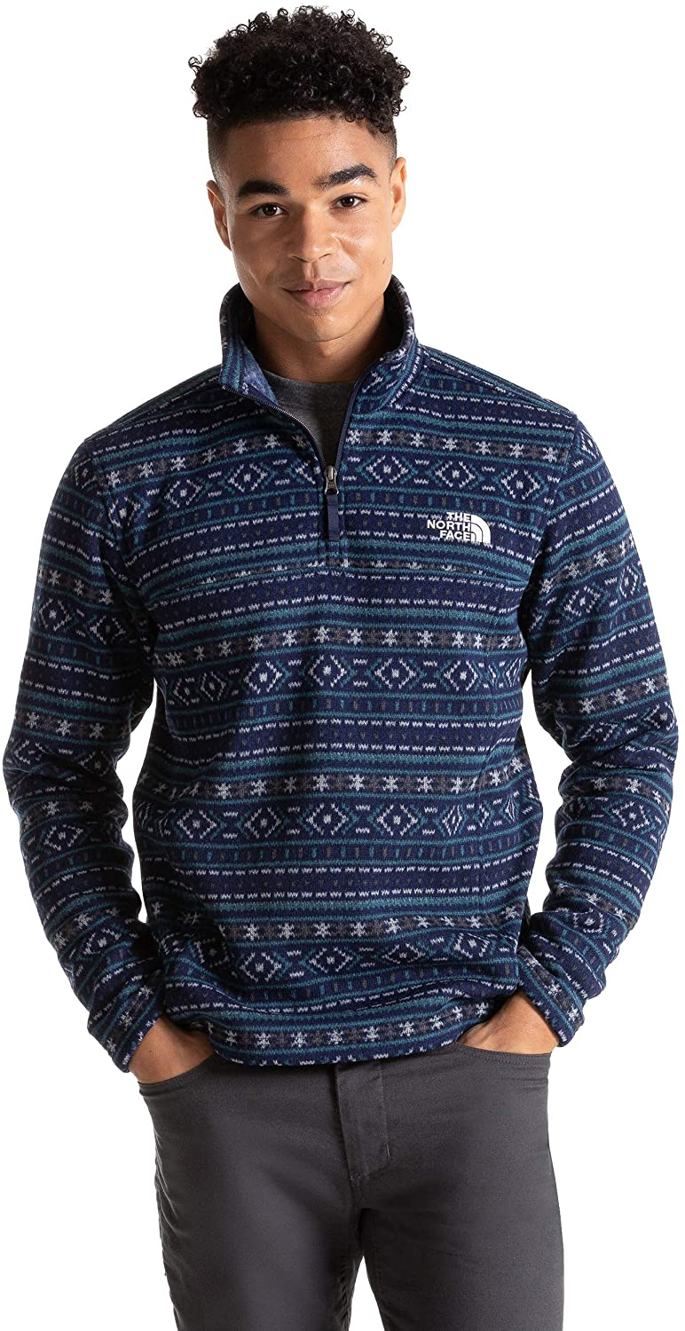 Men's The North Face Tsillan Quarter Zip Sweatshirt in TNF Navy Fair Isle Print from the front