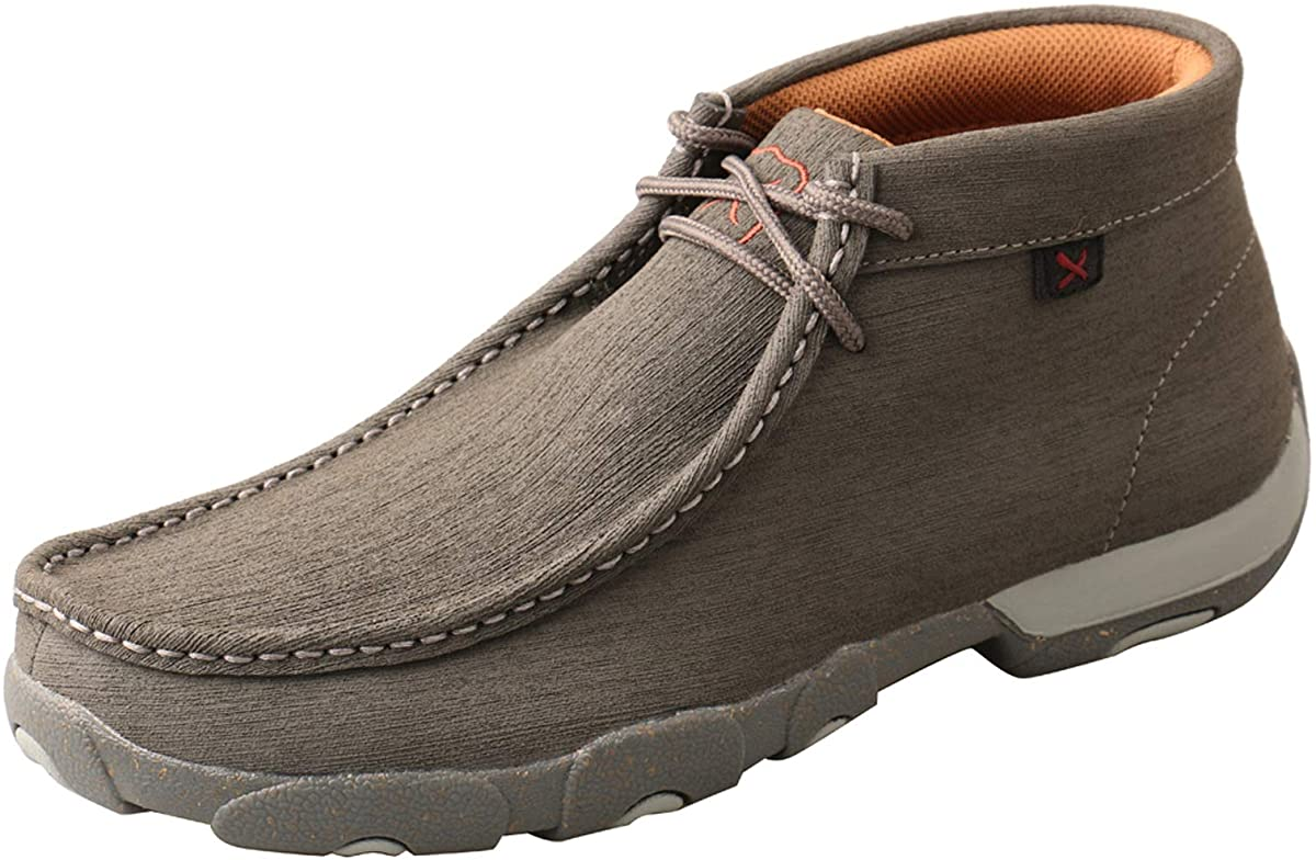 Men's Twisted X Chukka Driving Moccasins DuraTWX in Dark Grey & Grey from the side view
