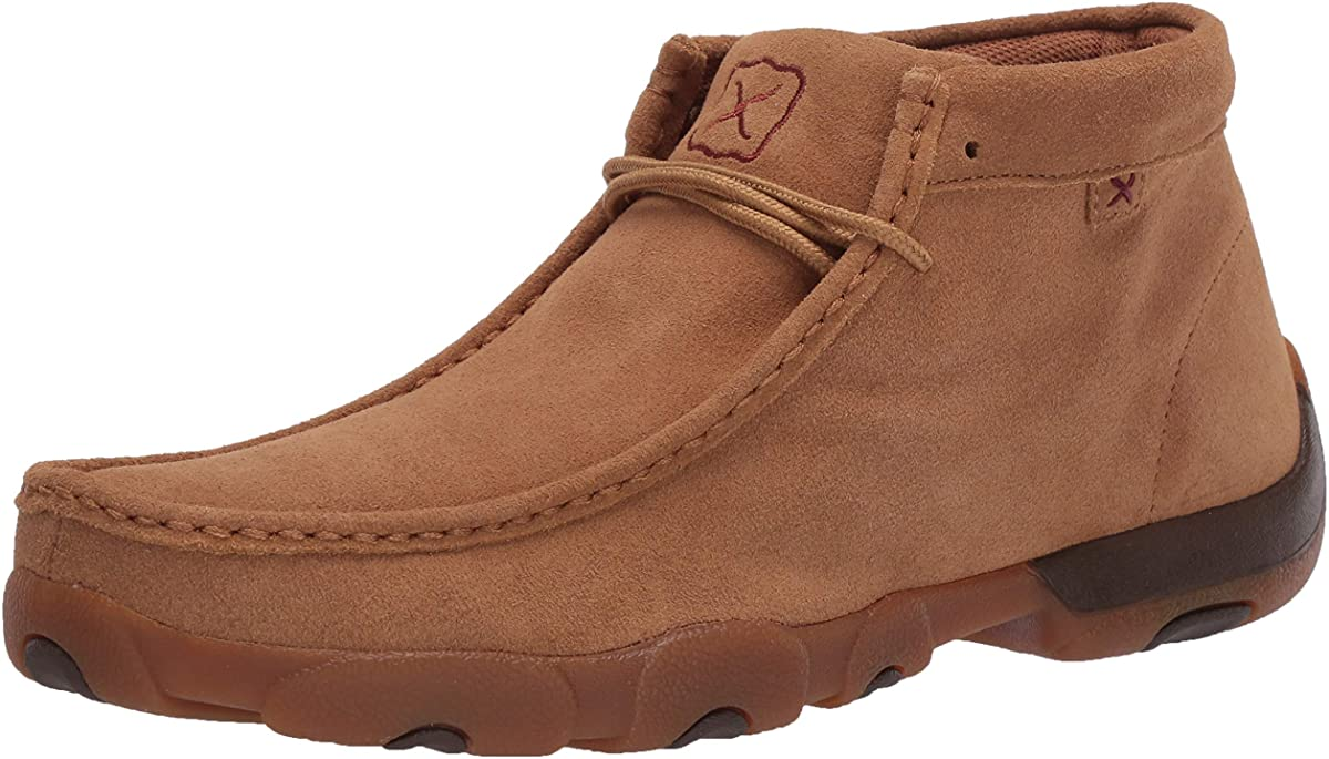 Men's Twisted X Chukka Driving Moccasins Shoe in Rough Out Tan from the front