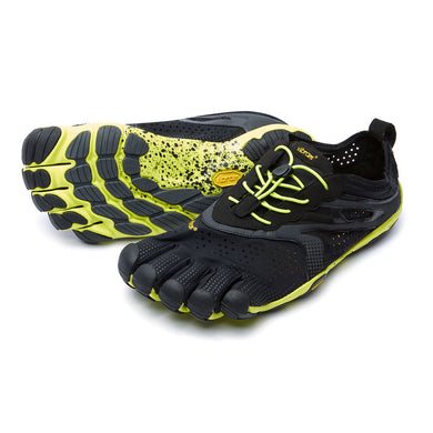 Men's Vibram Five Fingers V-Run Running Shoe in Black/Yellow from the front