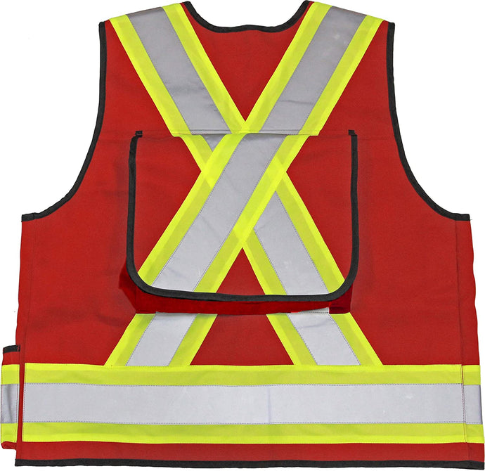 Men's Viking 1000D Surveyor Safety Vest in Red from the front