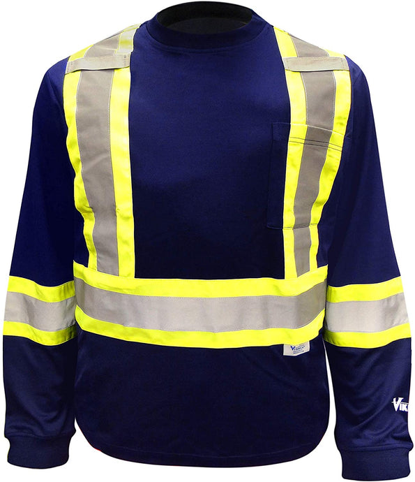 Men's Viking Hi-Vis Class 1 Safety Cotton Lined Long Sleeve Shirt in Navy from the front