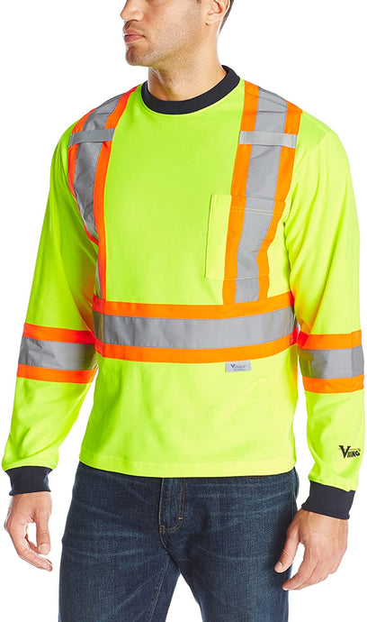 Men's Viking Hi-Vis Class 2 Safety Cotton Lined Long Sleeve Shirt in Green from the front