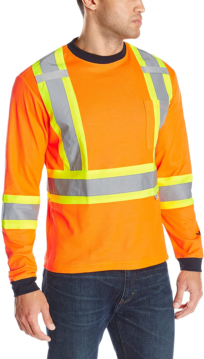 Men's Viking Hi-Vis Class 2 Safety Cotton Lined Long Sleeve Shirt in Orange from the front