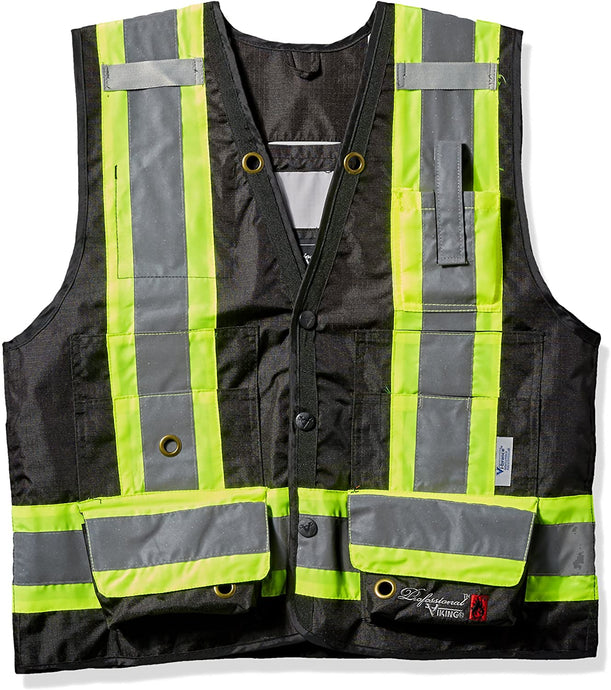 Men's Viking Journeyman 300D Flame Resistant Surveyor Vest in Black from the front
