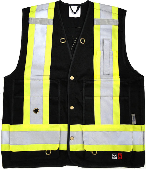 Men's Viking Open Road Flame Resistant Cotton Surveyor Vest in Black from the front