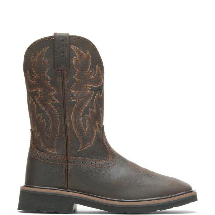 Wolverine Men's Rancher Square-Toe Wellington Boot in Dark Brown/Rust