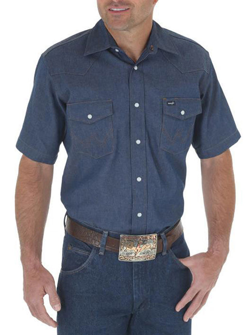 Men's Wrangler Authentic Cowboy Cut Firm Finish Denim Short Sleeve Work Shirt in Blue Indigo