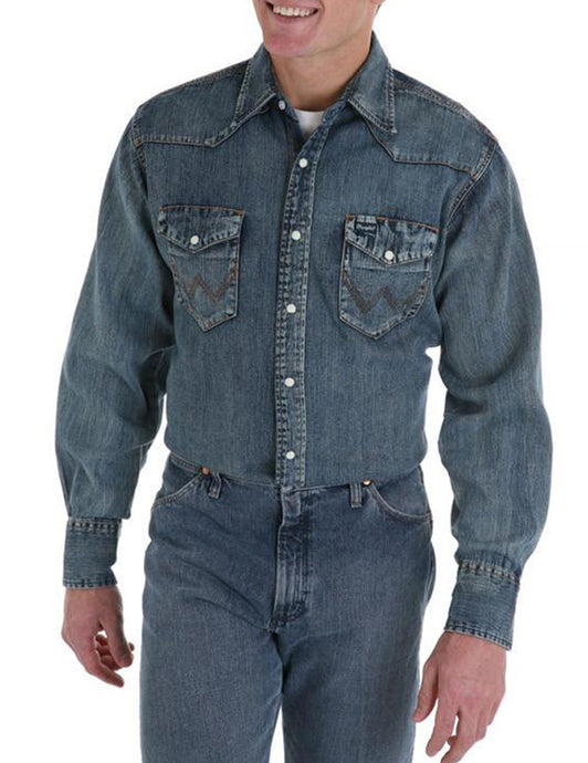 Men's Wrangler Authentic Cowboy Cut Work Shirt in Antique Blue