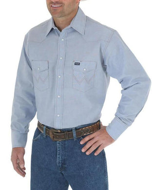 Men's Wrangler Cowboy Cut Work Shirt in Chambray
