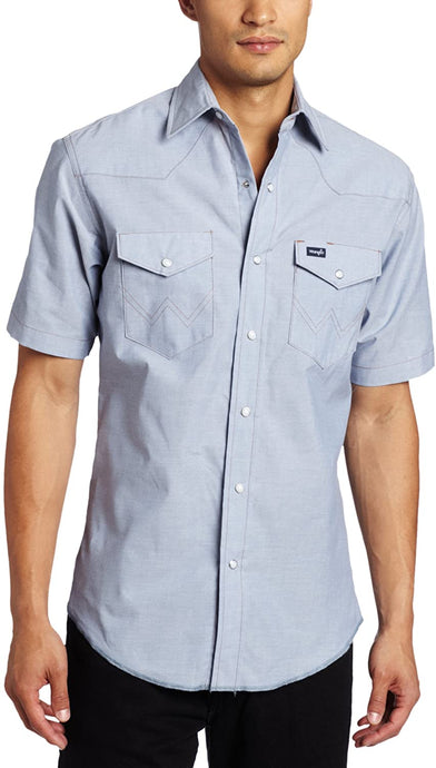 Men's Wrangler Cowboy Cut® Work Short Sleeve Western Snap Solid Chambray Shirt in Chambray