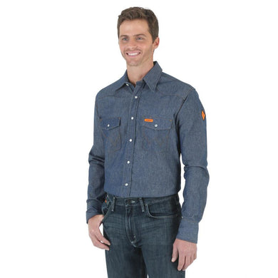 Men's Wrangler Flame Resistant Long Sleeve Denim Work Shirt in Indigo