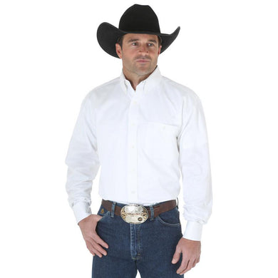 Men's Wrangler Long Sleeve Twill Shirt in White