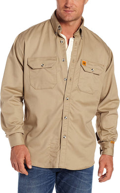 Men's Wrangler Riggs Workwear Flame Resistant Work Shirt in Khaki