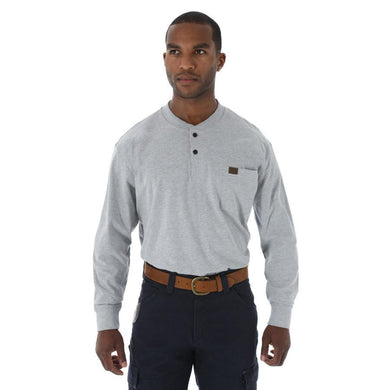 Men's Wrangler RIGGS Workwear Long Sleeve Henley Shirt in Ash Heather