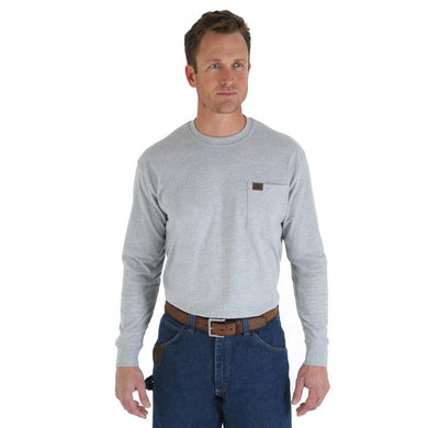 Men's Wrangler RIGGS Workwear Long Sleeve Pocket T-Shirt in Ash Heather