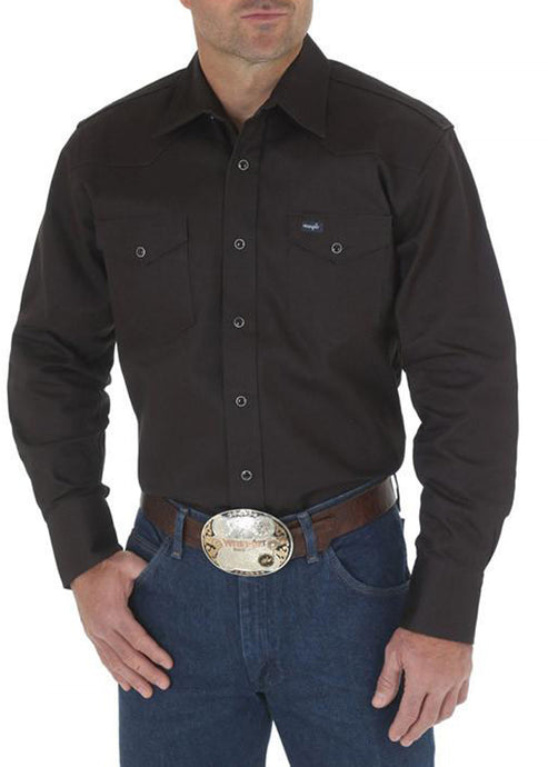 Men's Wrangler Work Western Shirt in Black in Black
