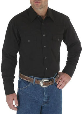 Men's Wrangler® Western Snap Shirt - Long Sleeve Solid Broadcloth in Black