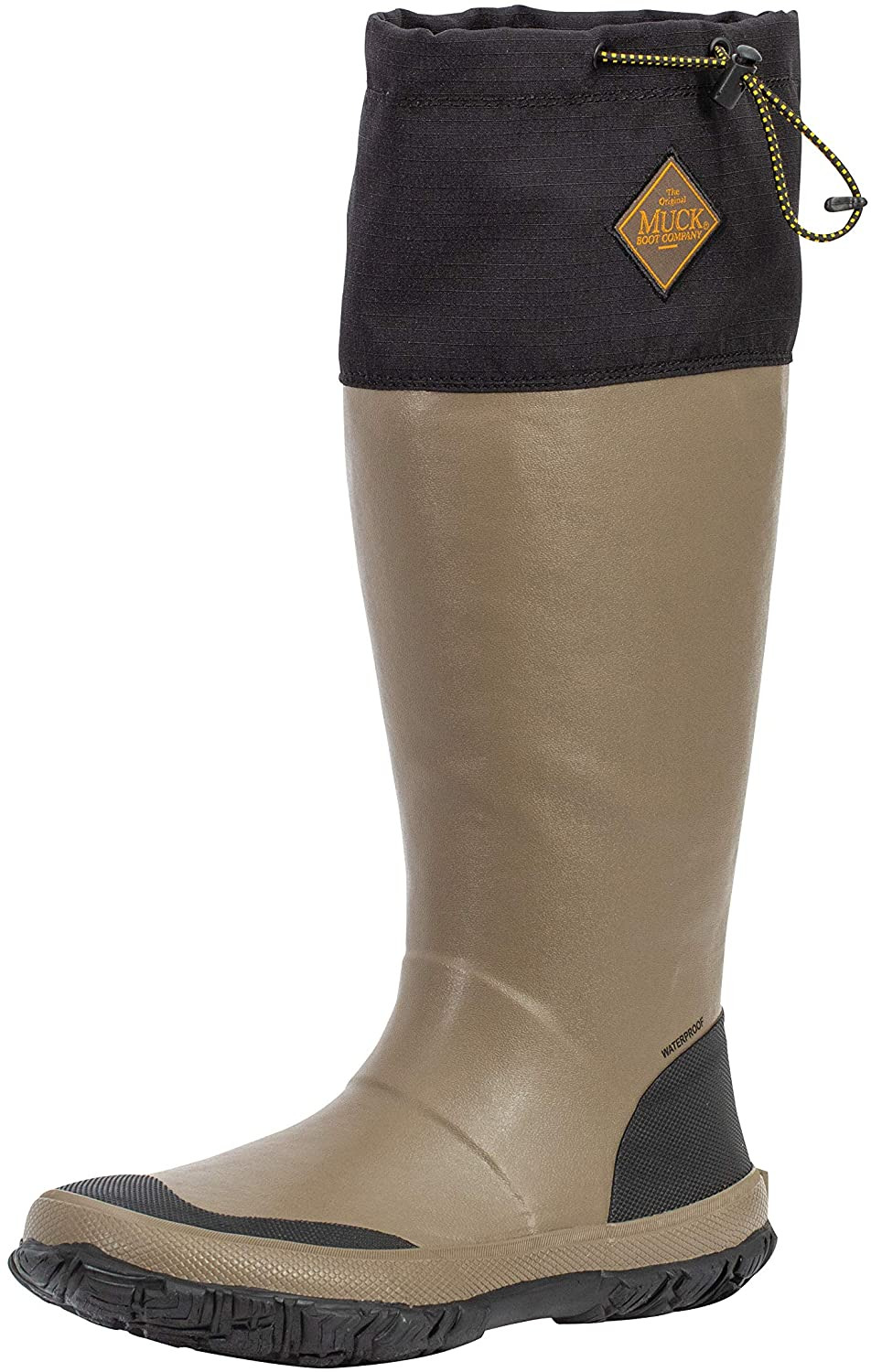 Unisex Muck Boot Forager Tall Waterproof Boot in Black/Tan view from the side