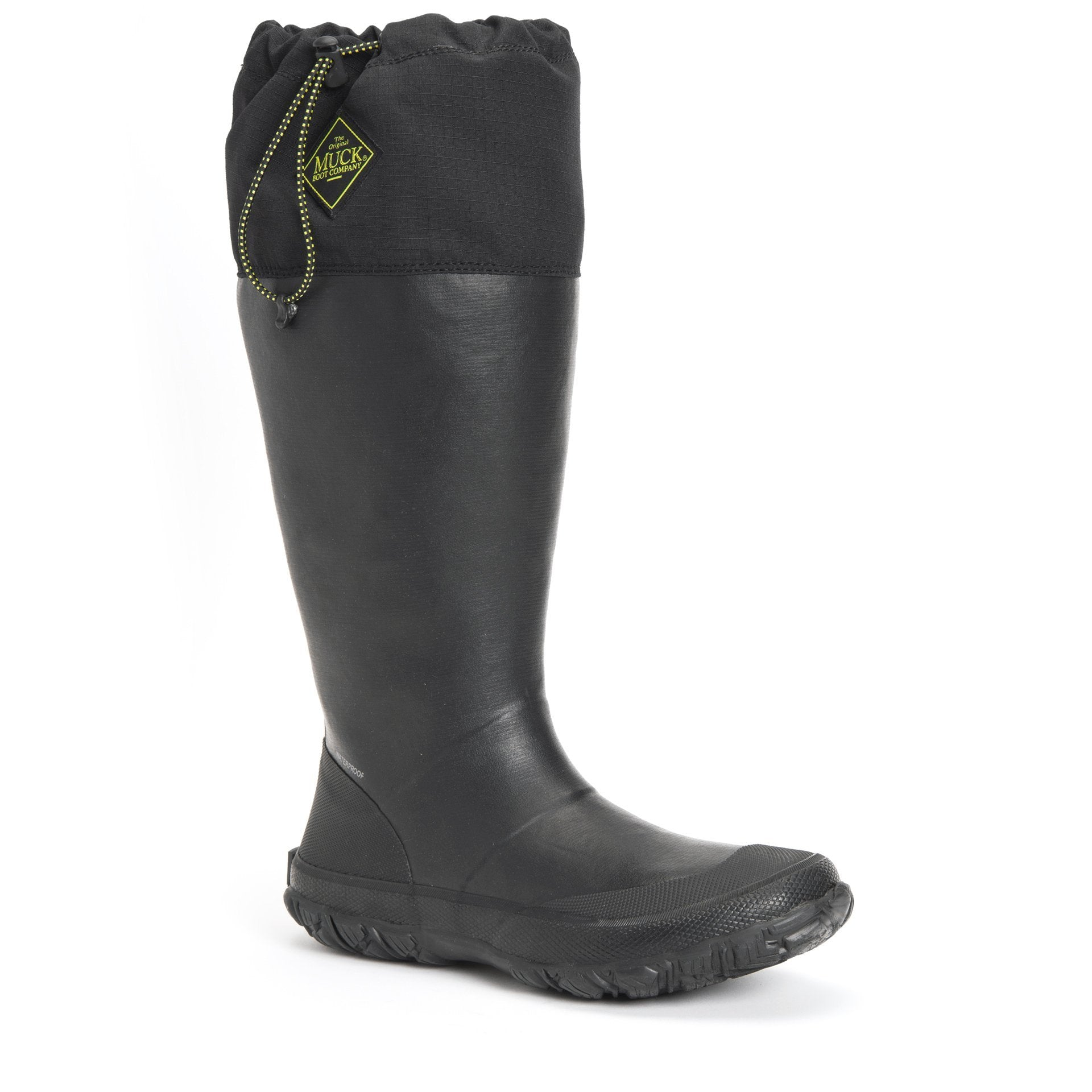 Unisex Muck Boot Forager Tall Waterproof Boot in Black view from the side