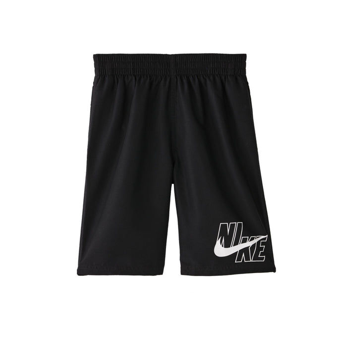Boy's Nike Big Logo Solid Lap Volley Short Swim Trunk in Black color from the front