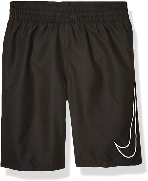 Boy's Nike Big Swoosh Solid Lap Volley Short Swim Trunk in Black color from the front