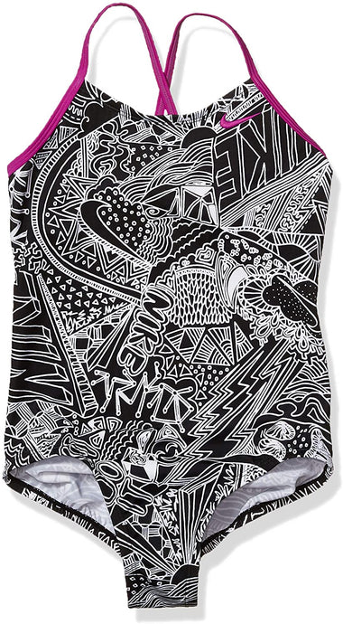 Girls' Nike Big Crossback Doodle One Piece Swimsuit in Black color from the front