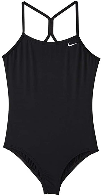 Girls' Nike Big Racerback One Piece Swimsuit in Black color from the front