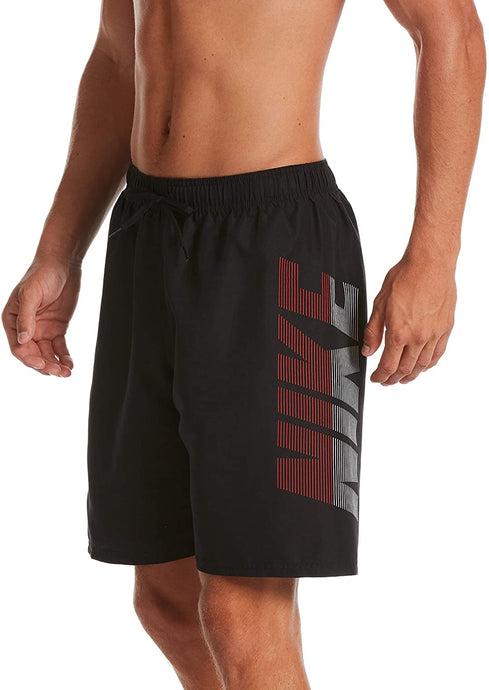 Men's Nike Logo Volley Short Swim Trunk in Black color from the front