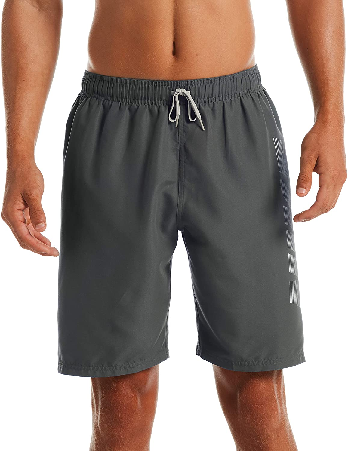 Men's Nike Logo Volley Short Swim Trunk in Iron Grey color from the front