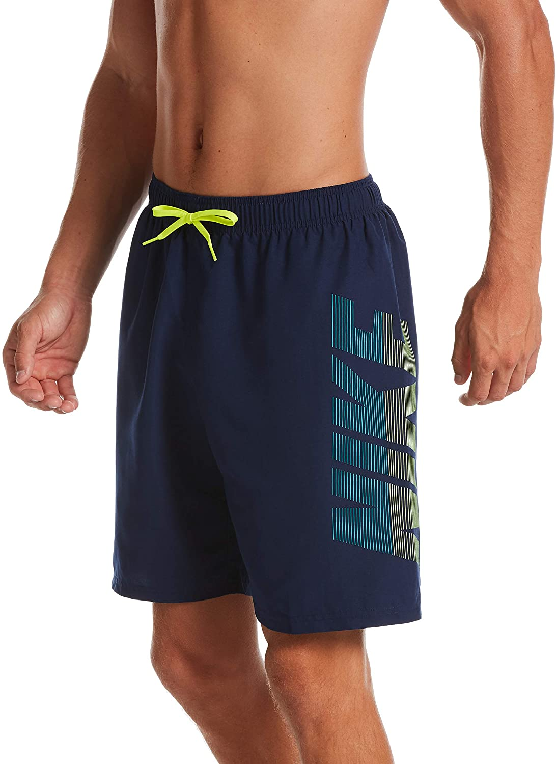 Men's Nike Logo Volley Short Swim Trunk in Midnight Navy color from the front