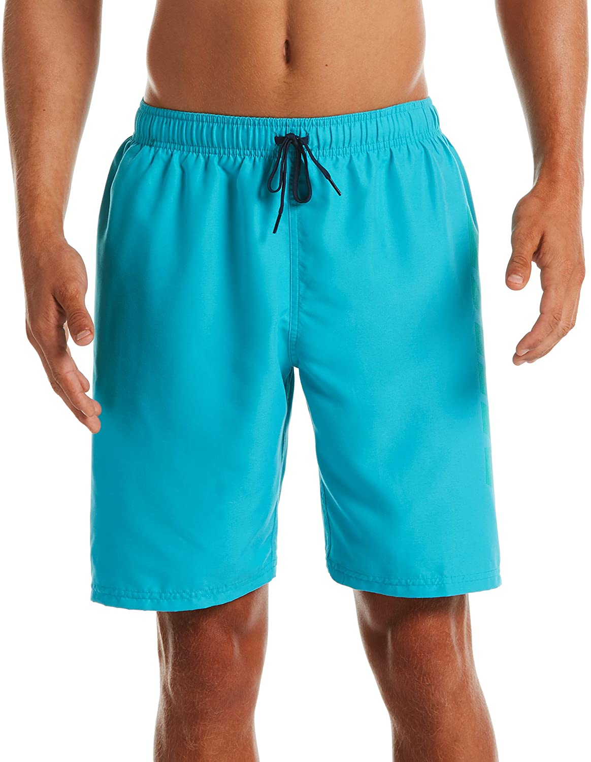 Men's Nike Logo Volley Short Swim Trunk in Oracle Aqua color from the front