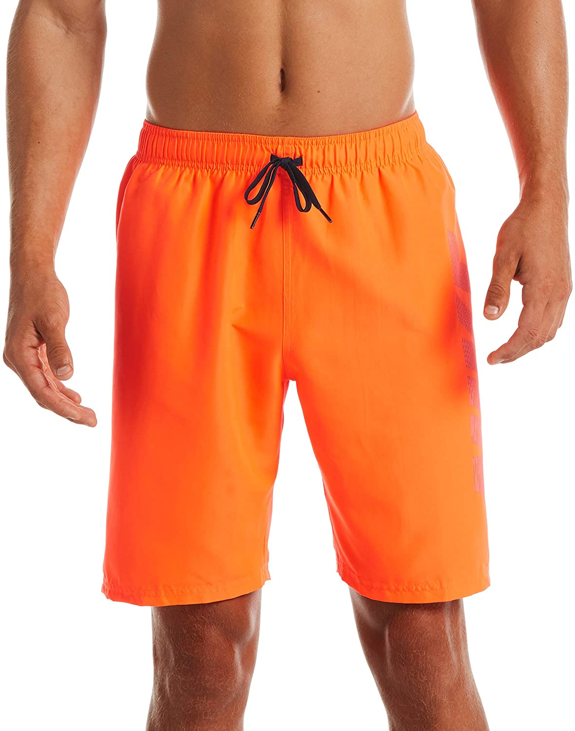 Men's Nike Logo Volley Short Swim Trunk in Total Orange color from the front