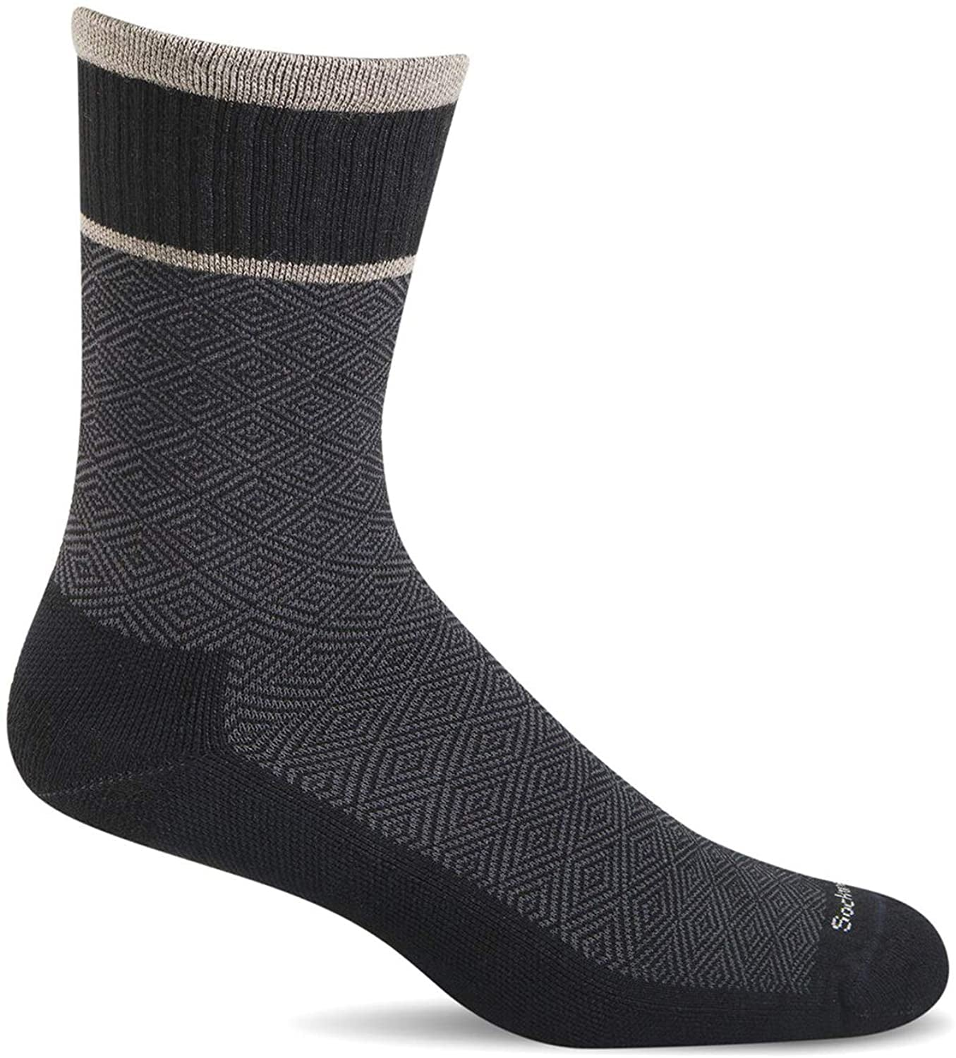 Sockwell Men's Plantar Cush Crew Sock in Black color from the side