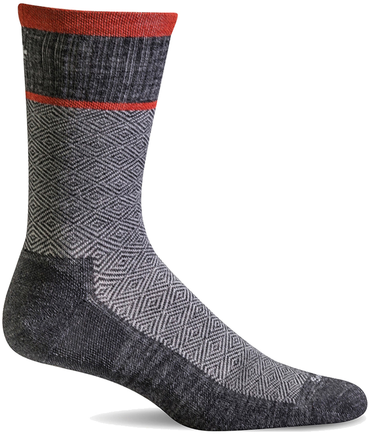 Sockwell Men's Plantar Cush Crew Sock in Charcoal color from the side