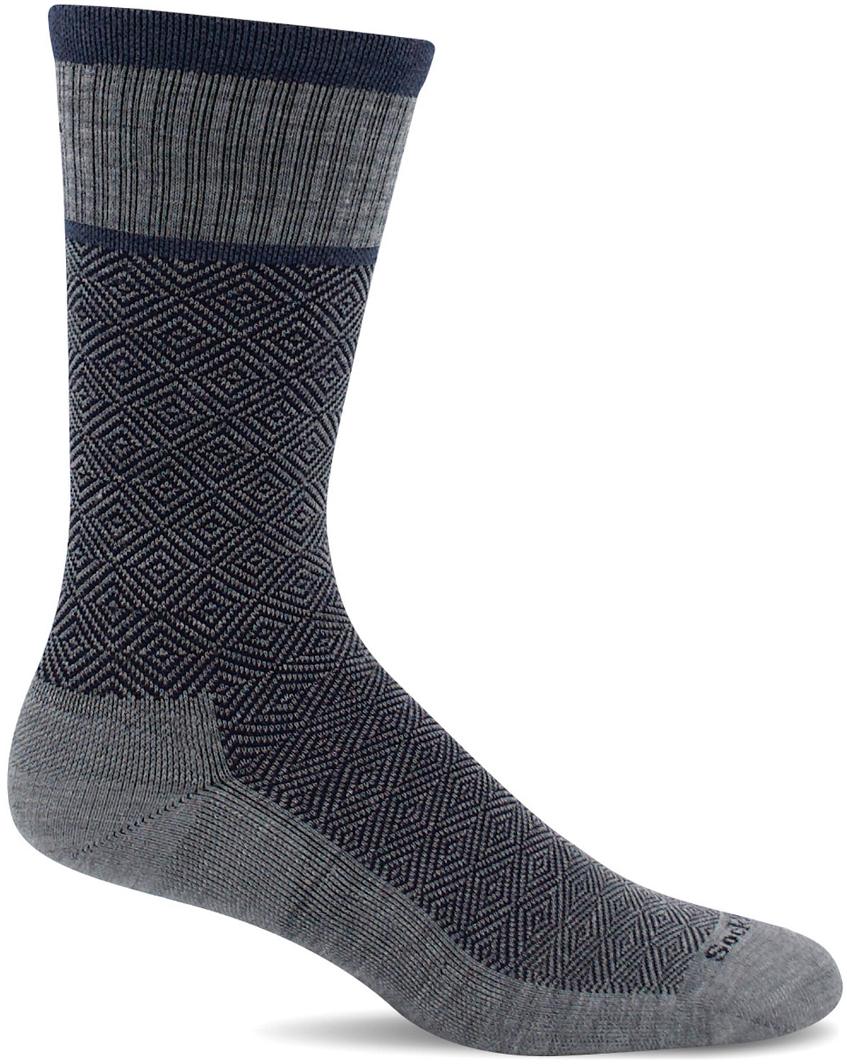 Sockwell Men's Plantar Cush Crew Sock in Grey color from the side