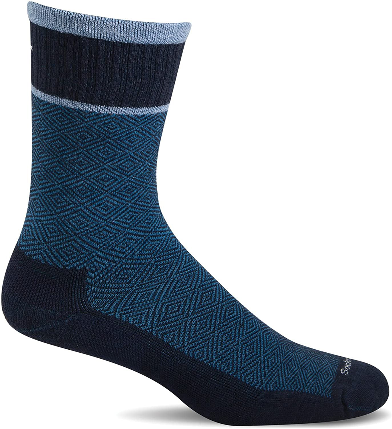 Sockwell Men's Plantar Cush Crew Sock in Navy color from the side