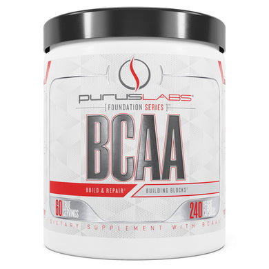 Purus Labs BCAA Dietary Supplement from the front view