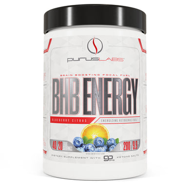 Purus Labs BHB Energy Dietary Supplement in Blueberry Citrus from the front view