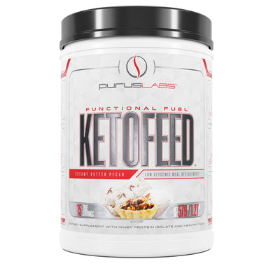 Purus Labs KetoFeed Protein Dietary Supplement in Creamy Butter Pecan from the front view