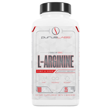 Purus Labs L-Arginine Dietary Supplement from the front view