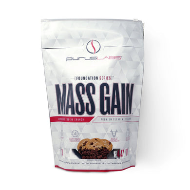 Purus Labs Mass Gain Dietary Supplement in Chocolate Cookie Crunch from the front view
